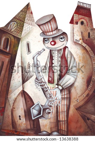 A Tenor Sax Player. Illustration by Eugene Ivanov.