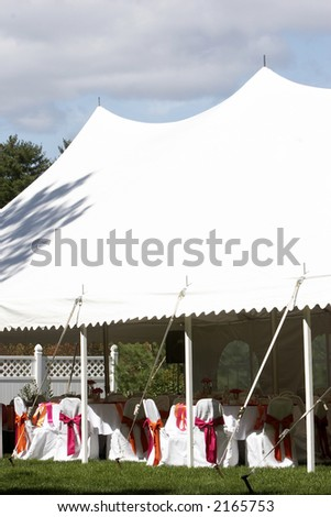 A tent that is used for a wedding or other outdoor event to protect from the rain or wind.