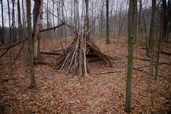 A tepee (or tipi) found in the trails while hiking through the woods of Eastern Michigan. This primitive structure was built in a small clearing surrounded by trees on a bed of leaves.
