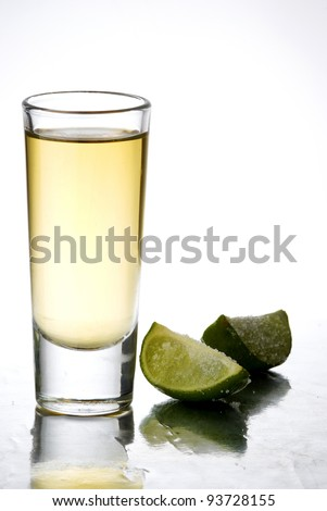 a tequila served with lemon