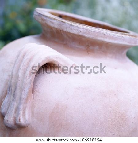 A terracotta pot, close-up.