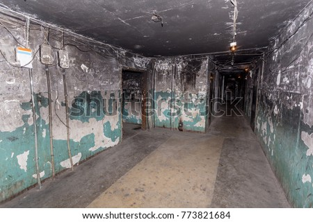 "A terrible interior of an apartment building with cheap apartments. Typically, residents of such buildings are poor people. This type of building is called a ""gostinka"". Russia, Vladivostok. #773821684"