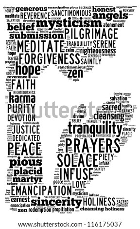 A text graphics showing a person in prayer