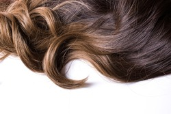 A texture of natural looking synthetic dark brown shiny wavy curly hair with highlights isolated on the white background