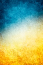 A textured vintage paper background with a dark blue to golden yellow gradient.