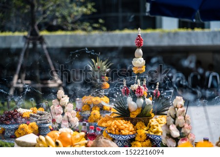 A Thai Brahmin ceremony, installation of house shrine. With offering setup fruit and candy.