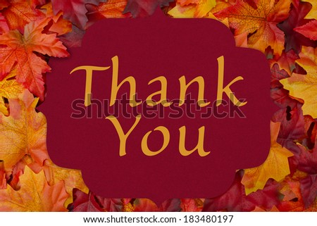 A thank you card, A red card with words thank you over red and orange maple leaf background