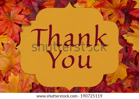 A thank you card, A yellow card with words thank you over red and orange maple leaf background