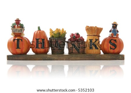 A thanksgiving decoration sign over a white background