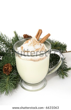 A thick frothy mug of eggnog garnished with whipped cream, nutmeg, and cinnamon sticks.  White background with pine decoration.