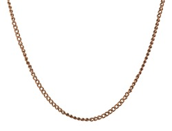 a thin copper chain on an isolated white background