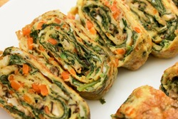 A thin egg-dough casing filled with minced vegetables and often bits of meat (such as shrimp or chicken) and usually deep-fried.