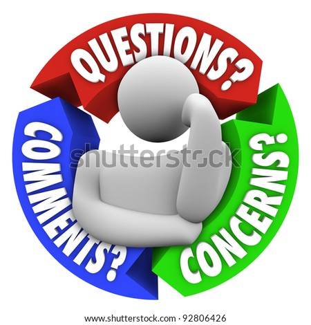 A thinking man in the center of an arrow diagram with arrows representing aspects of customer service or support - Questions, Comments and Concerns