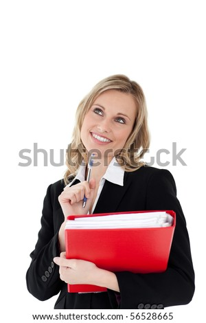 A thinking woman with a pen and a file in her hands against white background