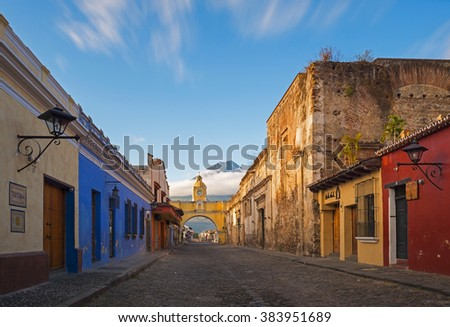 A thirty seconds exposure of the historic center of Antigua at sunrise, Guatemala. Translation text left: