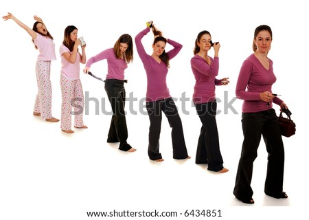 A thirty-something woman waking up and getting ready for her day, depicted in 6 graduated images.