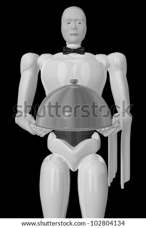 A three-dimensional image of a robot waiter in a black background.