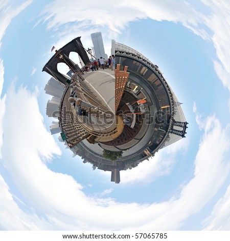A three dimensional mini planet style panoramic image of the New York City skyline including the Brooklyn and Manhattan Bridges.