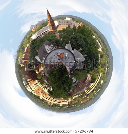 A three dimensional panoramic view of the skyline in New Britain Connecticut in a mini planet panorama style.