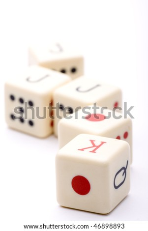 a throw of five dice poker to try their luck