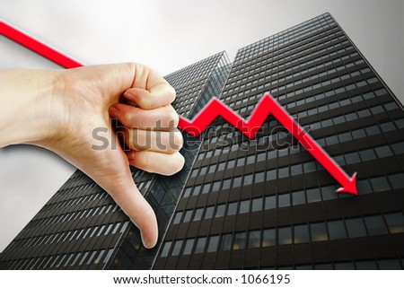 A thumbs down sign with a tall building in the background an a graph pointing down.