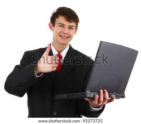 A thumbs up businessman with a laptop, isloated on white.