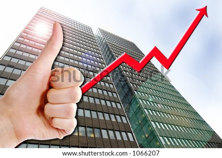 A thumbs up with a graph line going up and up. A tall business building in the background with a lens flare.  Success in Business.