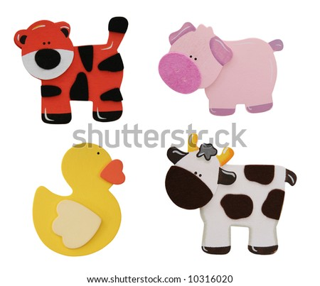 A Tiger, Pig, Cow, and Duck isolated over white