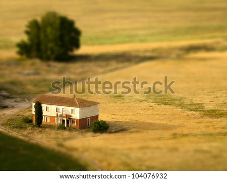 A tilt shifted country house on a cereal field - stock photo