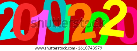 A time. Decade of the 20s of the 21st century. Illustration with the dates of the years 2010 and 2020. Colorful graphic with strong colors and great contrast with elegant fuchsia background. 10 years. Stockfoto ©