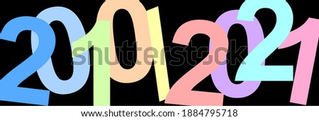 A time. Decade of the 20s of the 21st century. Illustration with the dates of the years 2010 and 2021. Colorful graphic with soft colors and strong contrast with elegant black background. 11 years. Stockfoto ©