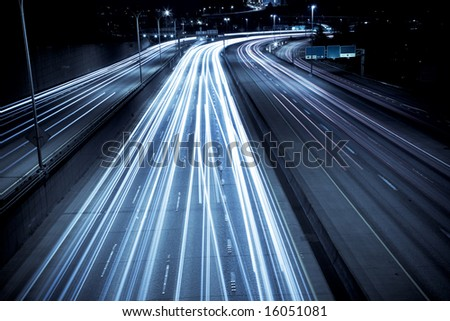A time exposure shot of rush hour traffic