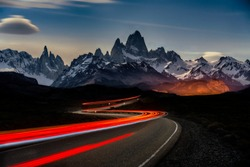 A timelapse shot of car lights in Fitz Roy Mountains in Argentina