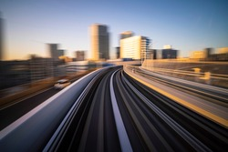 A timelapse shot taken on the automated Yurikamome transit line in Tokyo.