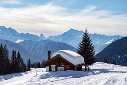 A tiny house in the Swiss-Alps! With lot of snow and perfect weather.