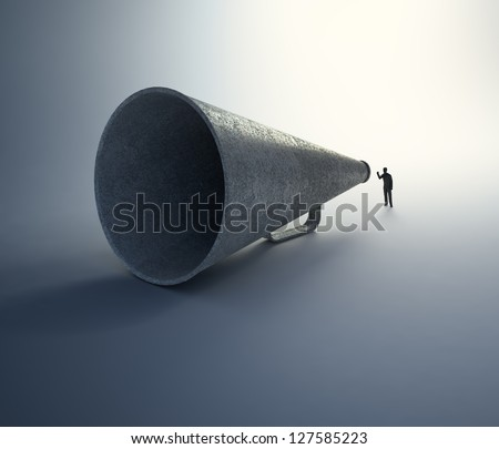 A tiny man speaking through a vintage megaphone