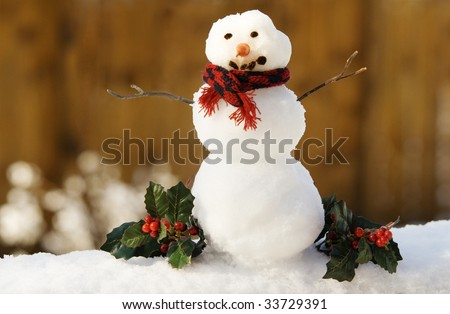 A tiny snowman with carrot nose, stick arms and red scarf, shallow depth of field, Christmas holly decorations, horizontal with copy space