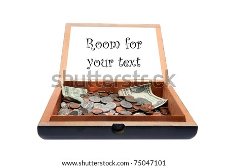 a tip jar or rather an old cigar box as a tip jar with a request for tips. text can easily be removed and replaced with your own sayings or info or images, isolated on white
