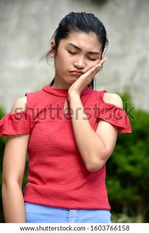 A Tired  Stressed Pretty Female