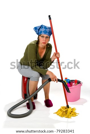 A tired young woman hates the housekeeping