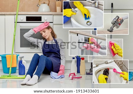 A tired young woman sits on the floor and rests after a long cleaning of the house. The concept of multi-tasking cleaner. ストックフォト ©