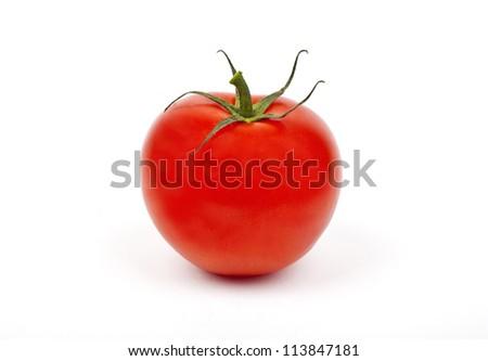 A Tomato on a white background.