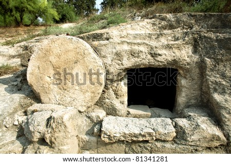 A tomb near nazareth, Israel dates to the first century. Similar to Christ's tomb with the stone rolled over the entry.