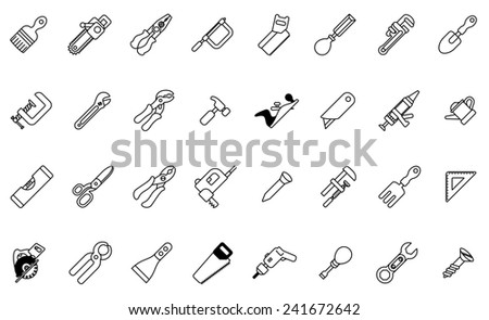 A tool icon set with lots of construction or DIY tools including level, saw and many others