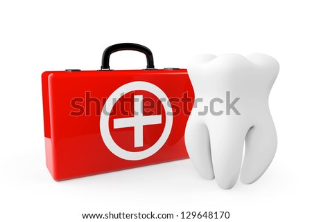 A Tooth and a First Aid Case on a white background