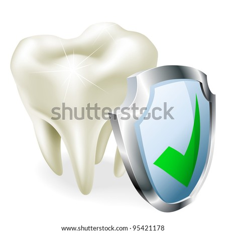 A tooth with a shield and green tick icon.