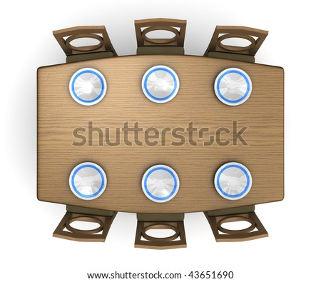A top down view of a dinner table and chairs with plates. Isolated on white.