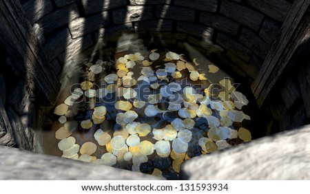 A top view looking over the edge into a brick wishing well with gold silver and bronze coins at the bottom covered in water
