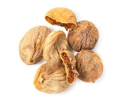 A top view of dried figs on a white background
