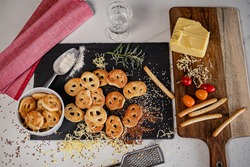 A top view of ready Kringle cookies and other ingredients on the table